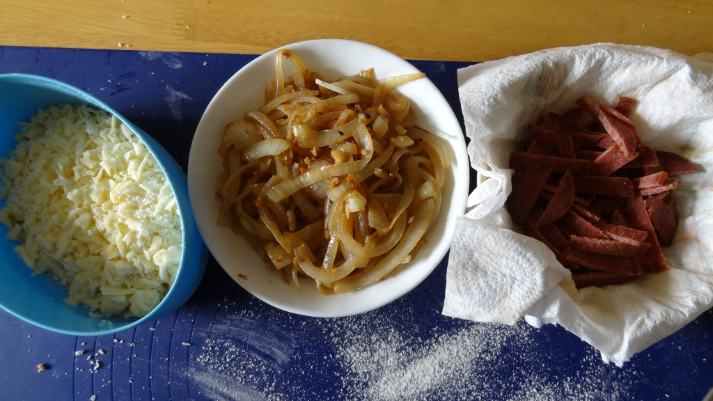 Some suitable fillings - cheese, onions and salami