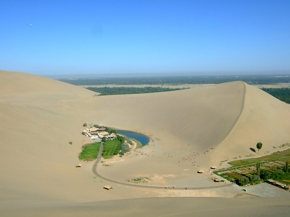 Crescent lake is surrounded on all sides by massive dunes