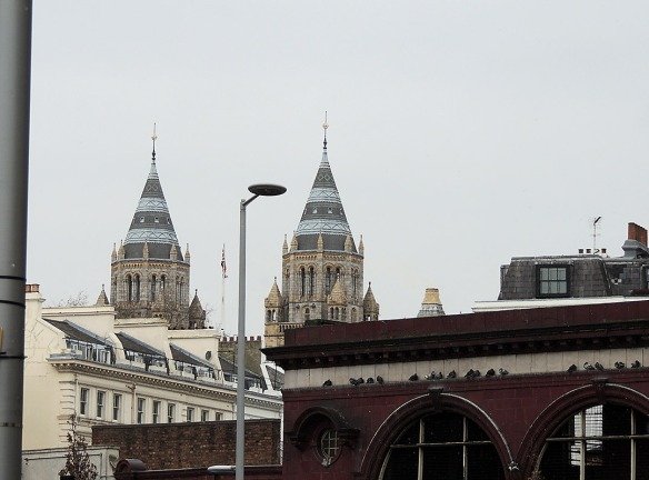 Iconic landmark - The towers of the museum seen from South Kensington underground station